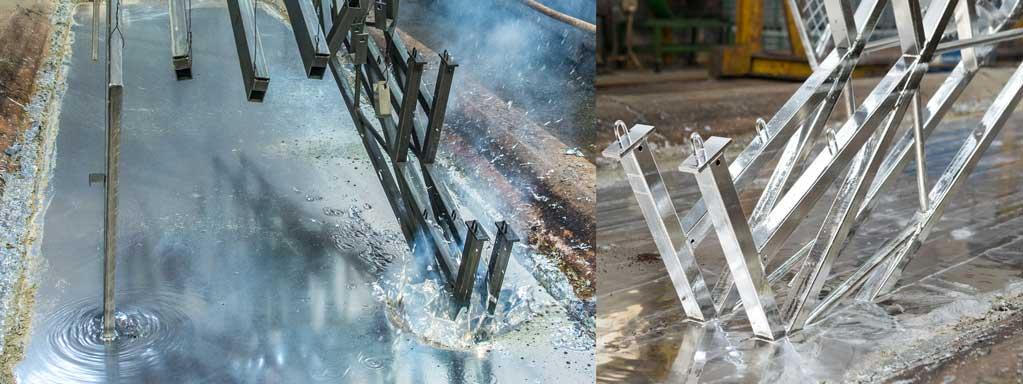 Les pièces en acier ainsi revêtues sont appelées produitsgalvanisés. Un produit fini galvanisé à chaud présente une très faible vitesse de corrosion dansletemps.